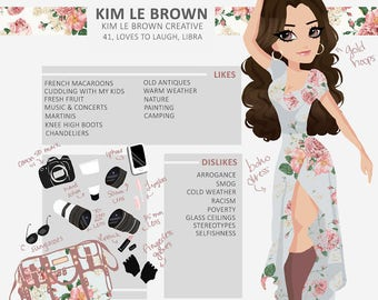 Custom Meet the Artist / Photographer / Person / Makeup Artist / Hairstylist / Painter / Writer / Infographic Self Portrait Illustration