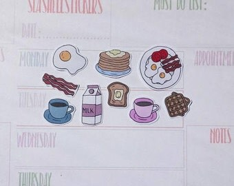 Breakfast Planner Stickers, coffee cup stickers, waffles stickers, pancakes stickers, eggs bacon stickers, milk stickers