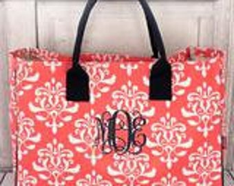 Coral Vicotorian Damask Tote with monogram