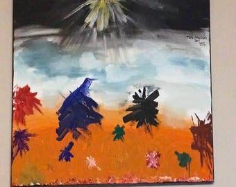 this piece is called the kingdom .it is very powerful.the colours and detail of this work hs meanings