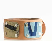 """License Plate Wide Wrist Cuff Buff Leather 1.5"""" Double Snap For Men Or Women Adjustable Vintage Recycled Metal"""