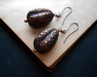 chroma - vintage copper oxidized patina filigree tear drop earrings - stocking stuffers vintage repurpose