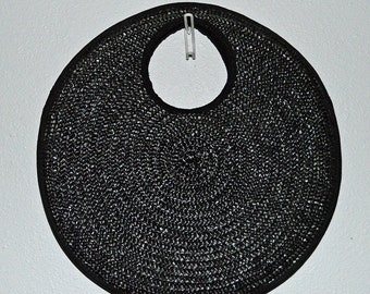CIRCLE ROUND - vintage 1980s large black circle wicker woven handbag