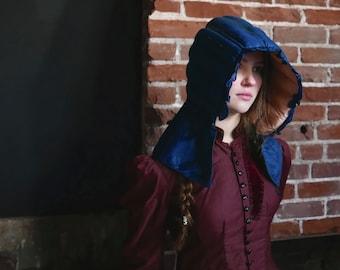 Cobalt Blue Silk Down Quilted 19th Century Bonnet