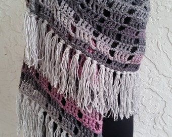 hand crochet Shawl  Capelet women accessory  ~ stylish wrap ~ grey mauve mix
