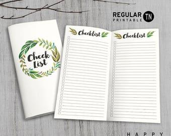 Printable MTN Insert - Regular Checklist Insert - Midori checklist insert, Check List Traveler's Notebook Insert - Green Leaves