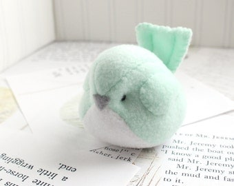 Kawaii Plush Bird Handmade Bird Stuffed Animal Plush Bird Mint Green Bubbletime Plush Fleece Bird