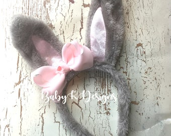 Baby Boy Girl Easter Bunny Headband. First Easter Bunny Headband GRAY Pink Bow Hair Clip #babykdesigns Poseable Bunny Ears Baby Bow #Easter