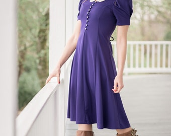 Vintage Violet Purple Laced Back Dress (Size Small)