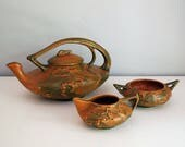 Roseville Bushberry Tea Set, 1940s Art Pottery, Terra Cotta Teapot, Creamer Sugar Bowl, Fine Art Ceramics, Orange Green Rustic Woodland