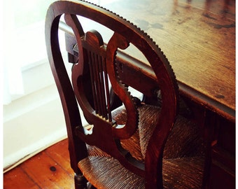Lyre-Back Wooden Chair and Desk Photograph - Antique Furniture Photos - Calm Cozy Home Art - Warm Welcome - Graceful Home Photos