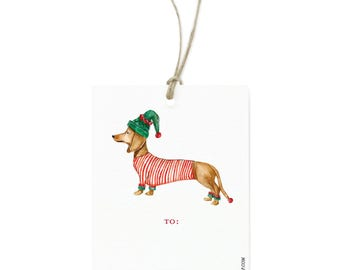 Festive Dachshund Holiday Gift Tag Set - Illustrated Winter, Holiday, Christmas Gift Tags