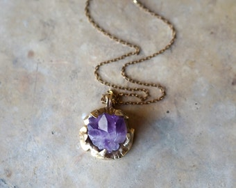 GEMMA / Amethyst Crystal Cluster Pendant Necklace, Raw Amethyst Necklace, Modern Bohemian Jewelry, Unique Stone Necklace, Raw Crystal