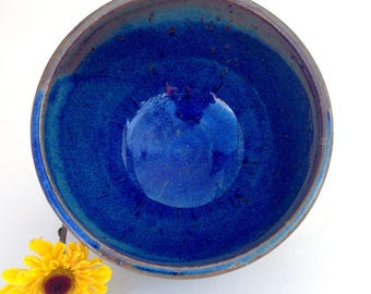 Blue and Charcoal Stoneware Serving Bowl