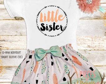 Big sister Little Sister Outfit / Shabby chic baby outfit / Feather Birthday Outfit / Photo Prop
