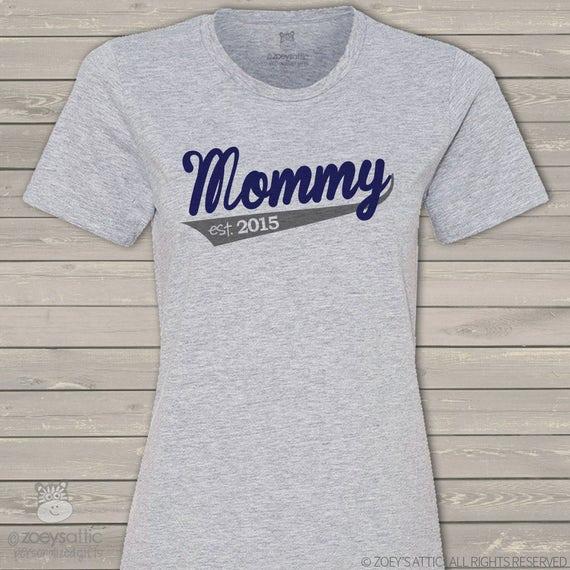 Mommy shirt - mommy established 2016 or any year sporty swoosh custom Tshirt MMGA1-044