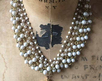 vintage pearl. statement necklace. layered vintage multi strand. botanical illustration. eco fashion. wedding jewelry. mothers day gift.