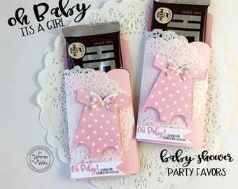 Kit Baby Onesie Party Favor / Candy Bar Wraps / Thanks for coming / It's A Girl / Hershey / Candy Bar Wrappers / Baby Shower Party / Pink