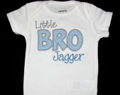 Custom Personalized Applique Big, Middle, or Little BROTHER and NAME Bodysuit or Shirt - Lt Blue Mini Gingham and Gray