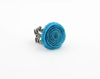 SALE Regularily 9.95 - Blue Ranunculus Flower Ring - Choose Your Own Adjustable Band - Felt Flower - brass, copper or silver
