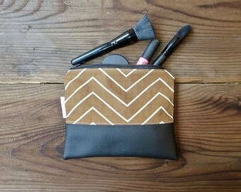Brown Chevron Zipper Cosmetic Bag