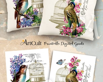 2 Printable Digital Sheets BIRDSONG Images to print on fabric or paper, Iron On Transfer for tote bags t-shirts pillows, scrapbooking paper