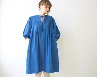 70s 80s RODIER cobalt blue tent dress with pockets - one size fits most