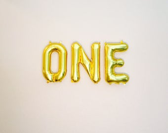 GOLD ONE Balloons, ONE, 1st Birthday Photo Props, Gold Number 1, One Photo Prop, 1 Balloon, Turning 1, Pink & Gold 1st Birthday,