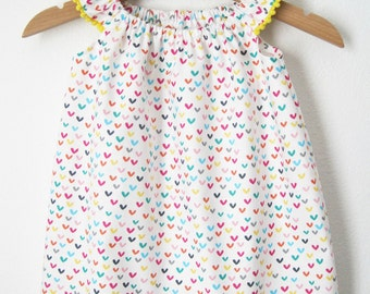 Rainbow Hearts Baby Dress, infant party dress, mod hearts dress, baby sundress with pompom trim, flutter sleeve dress, rainbow baby dress