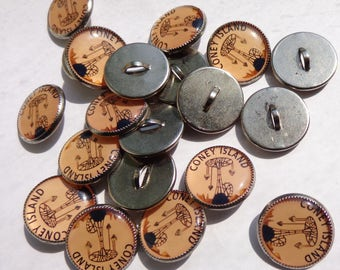 Coney Island, Brooklyn, New York, Vintage Round, Shank, Sewing, Craft Buttons / Jewelry supply, Ariel Swing Carousel 2 sizes