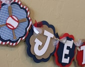 Vintage BaseBall NAME or ITS A BOY  Banner All American Navy Blue Gingham Red Stripe Kraft Baby Boy Shower Sports Birthday Party Decorations