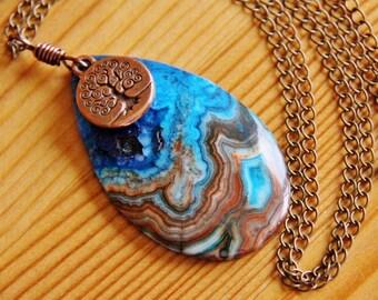 SALE Crazy Lace Agate pendant necklace, agate necklace, turquoise pendant, long boho necklace, long hippie neclace, healing jewelry bohemian