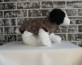 Dog sweater, xs dog sweater, sm dog sweater, dog sweater in tan/blue/rose multicolor