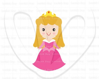 Princess Aurora in red pink gown Clip Art  ( Movie Inspired )  A50
