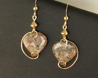 Heart Earrings, Unique Jasper Stone Gold Wire Wrapped Heart Earrings,  Gray Leopard Skin Jasper Drop Heart Earrings