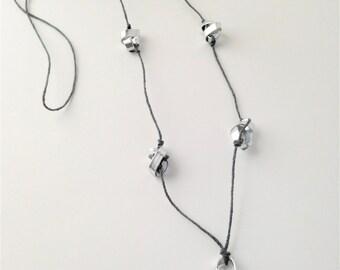 Aluminum Bead Long Hemp Necklace
