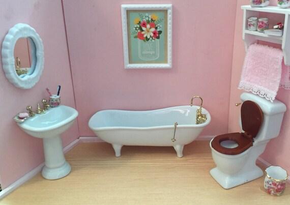 Miniature Porcelain Bathroom Set, Includes Tub, Sink, Toilet, Mirror, Dollhouse Miniatures, 1:12 Scale, Dollhouse Bathroom Furniture