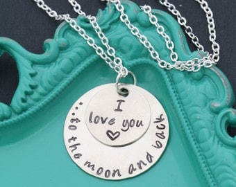 I Love You to the Moon and Back Necklace • Love Quote Necklace • Romantic Jewelry for Her • Jewelry Sayings • Daughter Gift •Friend Necklace