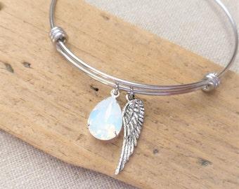 Angel Wing Charm Bracelet, Adjustable Bangle Bracelet, Swarovski White Opal Crystal Rhinestone, Stainless Steel, Memorial Jewelry, Gift