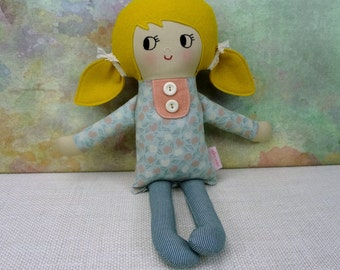 Nora // Handmade Doll // Girl Gift // Rag Doll // Nursery Decor // Girls Room Decor // Blonde Hair Girl // Warm Sugar Doll
