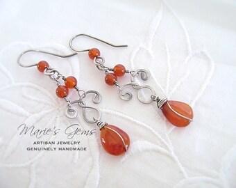 Silver Earrings, Carnelian Earrings, Sterling Silver, Chandelier Earrings, Wire Wrapped, Handmade Jewelry, Gemstone Jewelry, Scroll Earrings