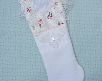 White Snowflake Christmas Stocking Red and Green Rose Print Shabby Chic Cottage Vintage Crochet Quiltsy Handmade