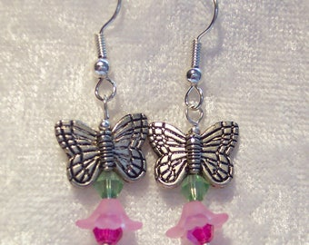 Pink Earrings, Butterfly Earrings, Antiqued Silver, Frosted Acrylic Flowers Earrings, Pink Crystals, Spring Earrings, Summer Earrings