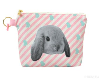 Orange Apollo's Flat Bottom Zipper Pouch for Bunny Lovers (Lop Eared bunny, Angled Pink Stripe)