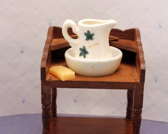Dollhouse Wash Basin Pitcher Stand w Soap Wood Miniature Furniture