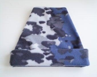 Gray Camo Fleece Cap, Fleece Camo Hat, Gray Blue Camo Fleece Cap, Camo Fleece Hat