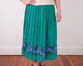 Vintage Flower Print Teal Blue Skirt - Teal Pleated Skirt with Purple Floral Print and Elastic Waist - Size Large 14 - Gift For Her