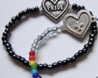 Sweetheart Pride, Plus, LGBTQ, Queer, Elastic bracelet, beaded, Custom size, Unisex, Heart, Rainbow, LOVE, Toronto Pride, Handmade