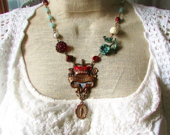 Sovereigns & Knights,Vintage French Enamel Medal,Aqua Amazonite,Carved Rose,Red Glass.Altered Assemblage Necklace,Hollywood Hillbilly