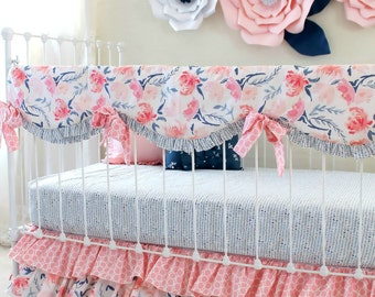 Watercolor Whispers girl crib bedding set, Pink and navy watercolor floral baby bedding, blush pink floral nursery bedding for baby girls